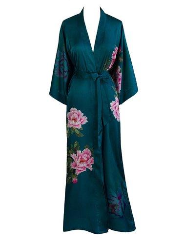 Old Shanghai Women's Kimono Robe Long - Watercolor Floral