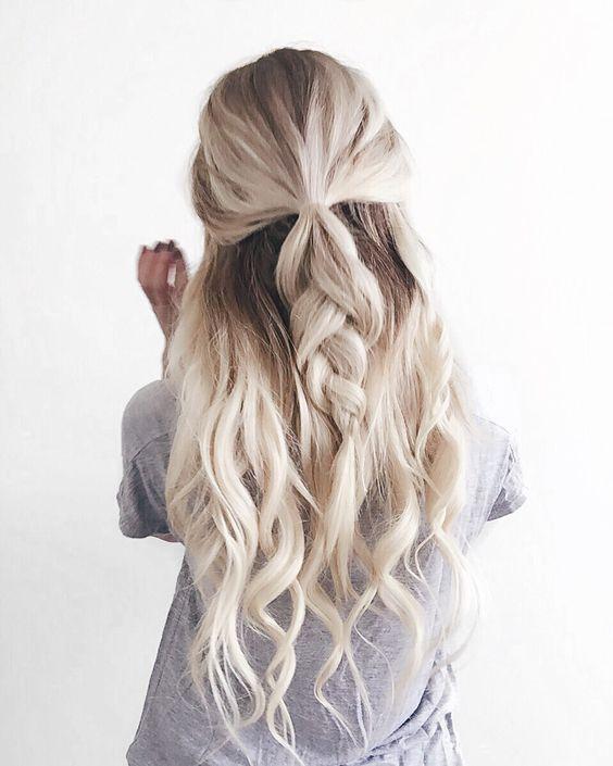 Half Up Braid beachy wavy braid hairstyle 2017
