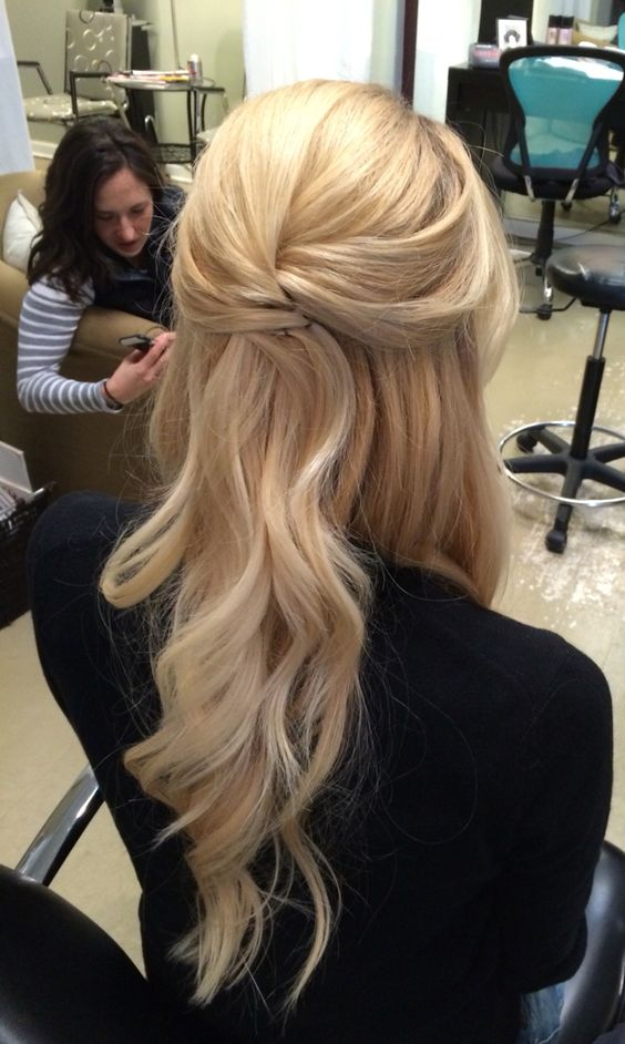 Easy Half-Up, Half-Down Hairstyles for long hair