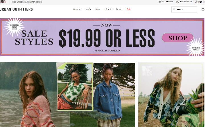 Urban Outfitters teen clothing stores online